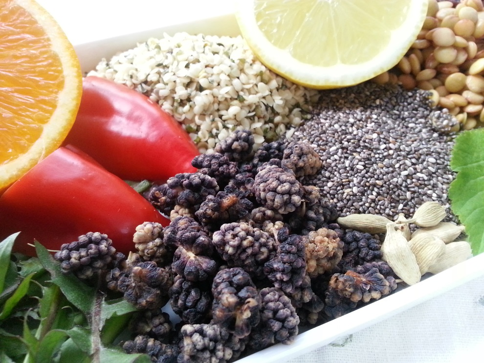 enthalten viel Eisen - von veganer Rohkost - Vitamin C