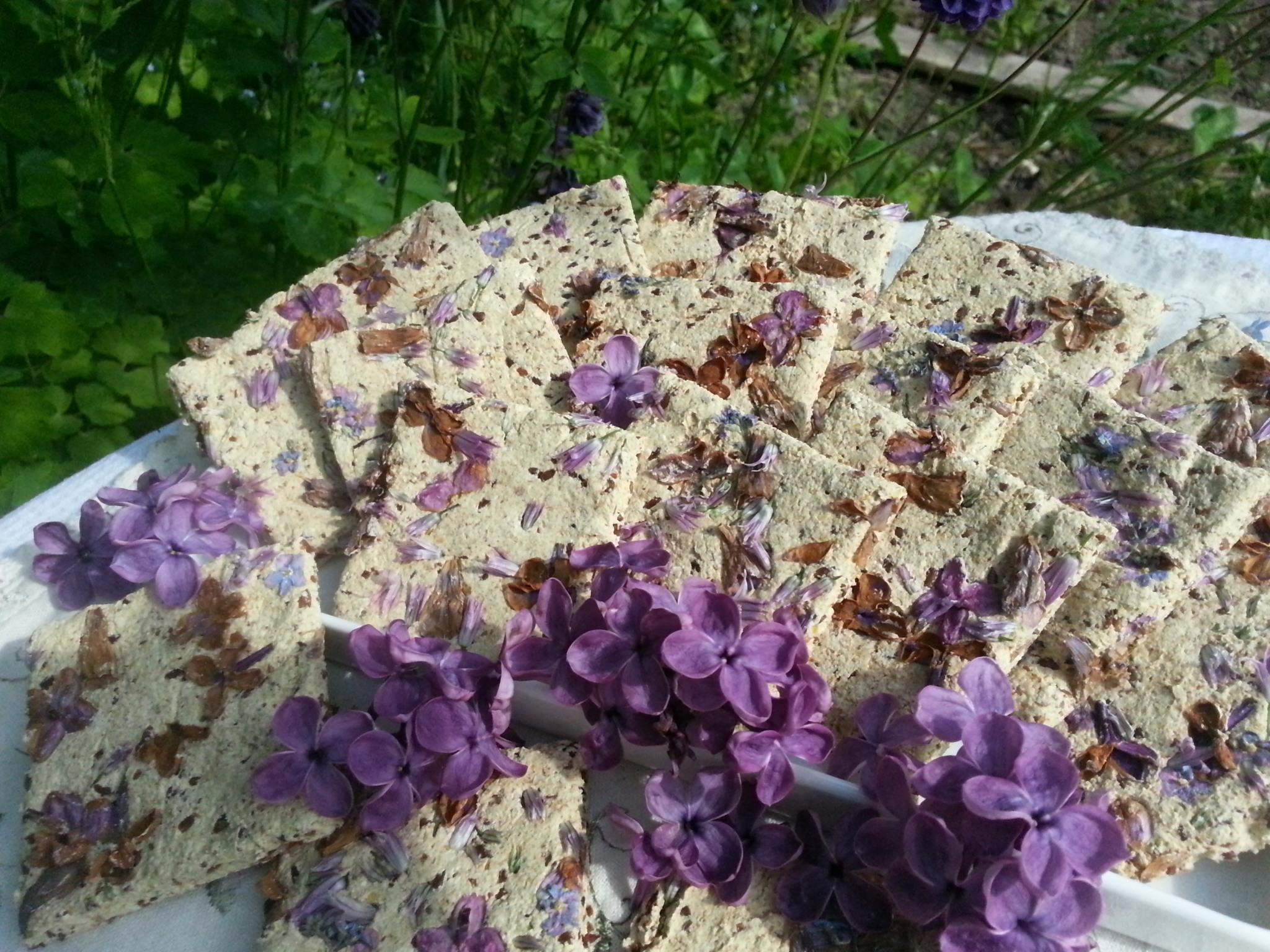 Diese roh-veganen Fliederkräcker bestehen aus einem relativ feingemahlenen Buchweizen-Leinsamenteig, in dem die farbigen Blüten sehr schön zur Geltung kommen :-)
