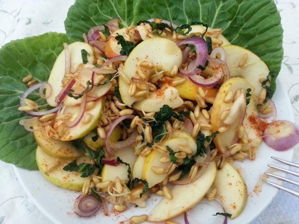 Diesen Kamut-Apfel-Rohkostsalat kannst du auf verschiedenste Weise variieren. Reibe ein bisschen frischen Meerrettich über den Salat oder gib ein paar eingeweichte Dörrobst-Feiben hinzu. Oder mache daraus einen Kohlsalat, indem du 2 dicke Hände voll ganz fein gehobelten Weißkohl dazugibst, den du mit den Händen durchgeknetet hast. Durchziehen lassen nicht vergessen :-)