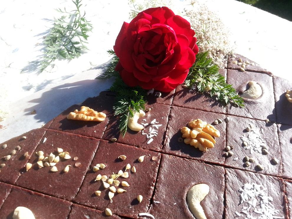 Rohkost-Schokolade roh-vegan - aus Datteln, daher braucht es etwas Geduld