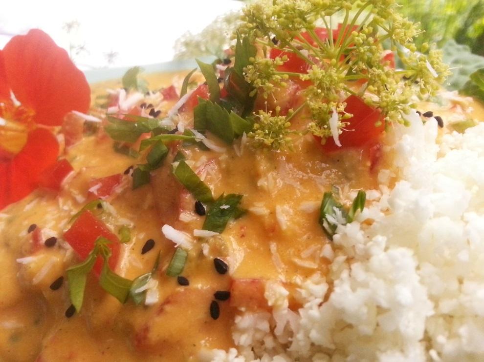 Roher Blumenkohlreis & roh-vegane asiatische Sauce