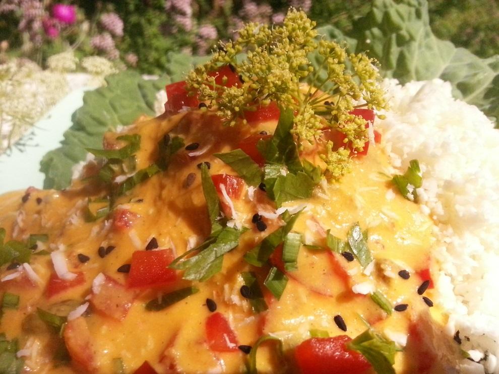 Milde roh-vegane asiatische Sauce zum Blumenkohlreis