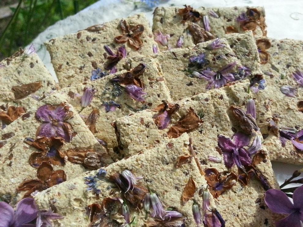 In die fertig ausgerollten Rohkostkräcker habe ich vor dem Trocknen Blüten von Flieder, Beinwell, Vergissmeinnicht und Schnittlauch eingedrückt - und es ist sehr schön zu sehen, wie vielfältig die blauen, lila und bräunlichen Farbtöne werden - auch abhängig davon, wieviel Kontakt die einzelne Blüte während des Trocknens mit dem Rohkostteig hat!