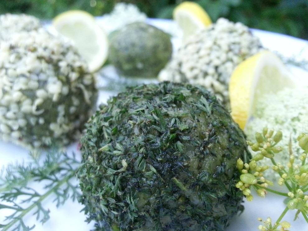 Zum Reinbeissen - diese grünen, in Schafgarbe gewälzten roh-veganen Hanfkäsebällchen :-)